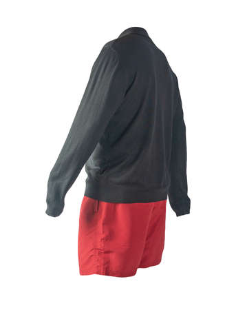 knitted black sweater and red shorts isolated on white background. fashionable clothes for every day 免版税图像
