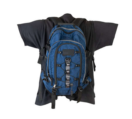 dark blue backpack dressed for black t-shirt isolated on a white background.