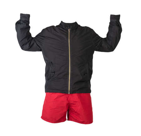Male black jacket with lightning and red shorts isolated on white background. Casual summer clothes 免版税图像