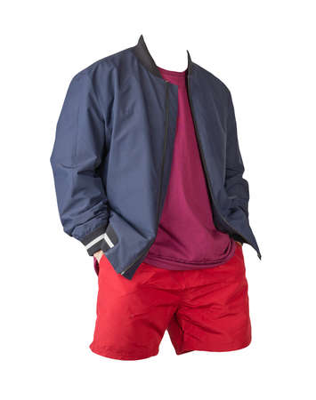mens dark blue bomber jacket, burgundy t-shirt and sports red shorts isolated on white background. fashionable casual wear