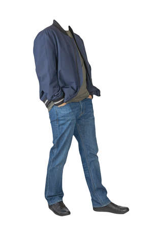 dark blue jeans, dark gray t-shirt, dark blue bomber jacket and black leather shoes isolated on white background