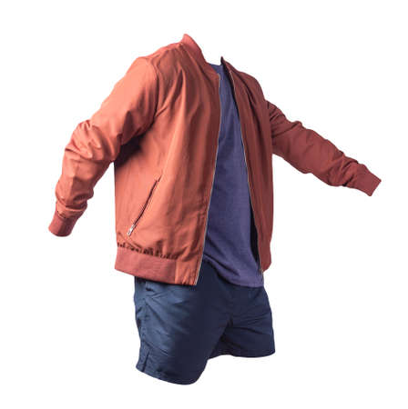 mens red bomber jacket, vintage heather navy t-shirt and sports dark blue shorts isolated on white background. fashionable casual wear 免版税图像