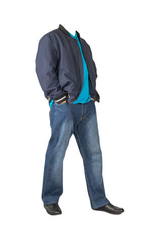 dark blue jeans, blue t-shirt with a collar on buttons, dark blue bomber jacket and black leather shoes isolated on white background