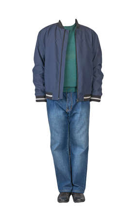 dark blue jeans, green sweater, dark blue bomber jacket and black leather shoes isolated on white background. Casual style