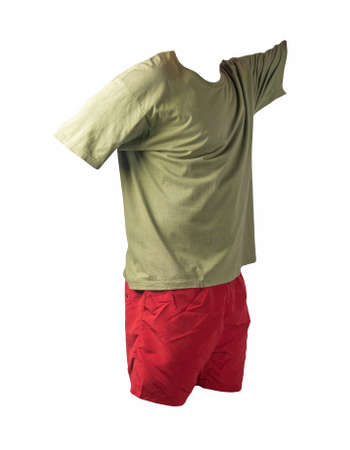 men's sports red shorts and olive t-shirt isolated on white background.comfortable clothing for sports