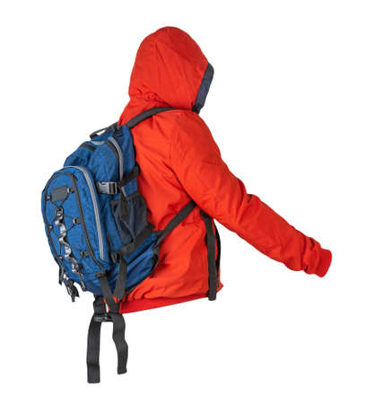 blue backpack dressed in red jacket with hood isolated on a white background. rear view of a backpack and jacket