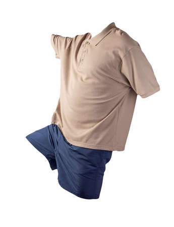 men's sports dark blue shorts and dark beige shirt with a button-down collar isolated on a white background.comfortable clothing for sports 免版税图像
