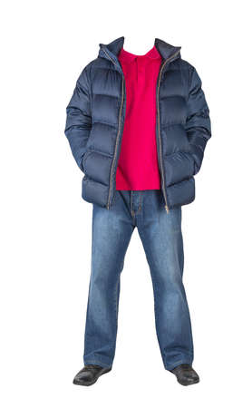 dark blue jeans, red t-shirt with a collar on buttons, dark blue down jacket with hoodand and black leather shoes isolated on white background 免版税图像