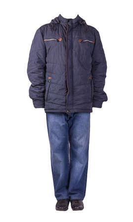 dark blue jeans, black leather shoes, dark blue orange jacket with a hood isolated on white background. Casual style