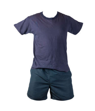 men's dark blue sports shorts and dark blue t-shirt isolated on white background.comfortable clothing for sports 免版税图像
