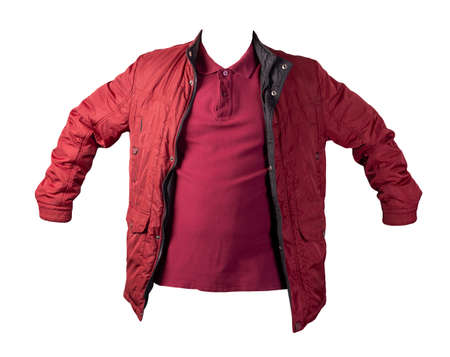 men's burgundy t-shirt and red jacket isolated on white background.casual clothing
