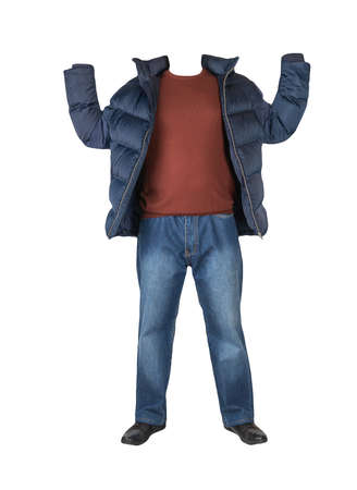 dark blue jeans, dark red sweater, dark blue down jacket and black leather shoes isolated on white background. Casual style 免版税图像