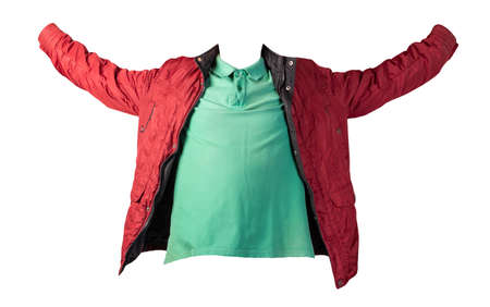 men's green t-shirt and dark red jacket zipper isolated on white background.casual clothing