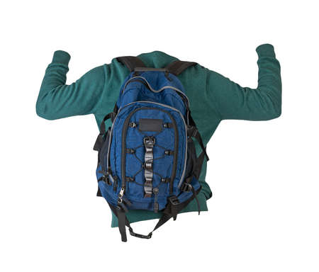 blue backpack dressed in a knitted green sweater isolated on a white background. backpack and male sweater view from the back