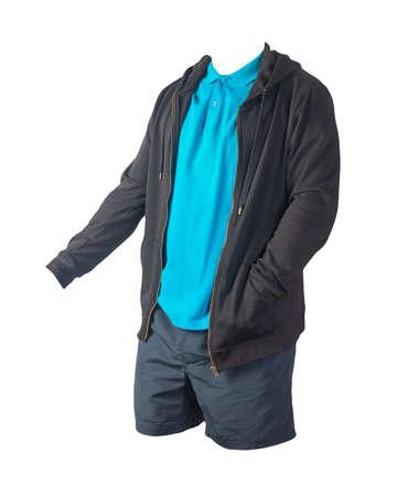 black sweatshirt with iron zipper hoodie, blue shirt and dark blue sports shorts isolated on white background. casual sportswear 免版税图像