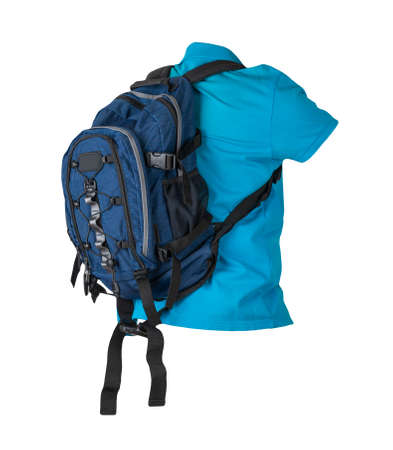 blue backpack dressed for blue t-shirt isolated on a white background. backpack and male sweater view from the back
