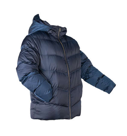 mens dark blue down jacket with hood isolated on white background. fashionable clothes for every day