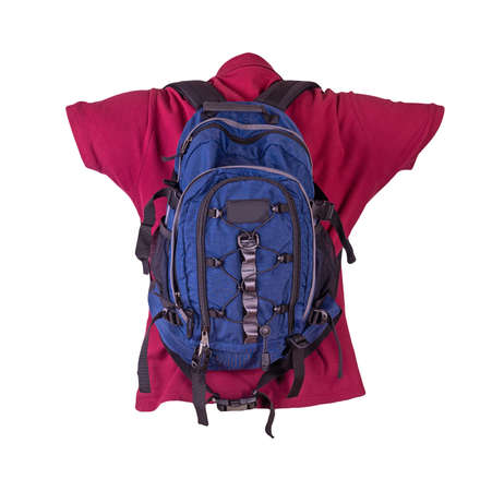 blue backpack dressed for burgundy t-shirt isolated on a white background. backpack and male sweater view from the back