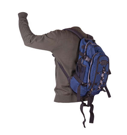 blue backpack dressed in dark green knitted bomber jacket isolated on a white background. rear view of a backpack and jacket