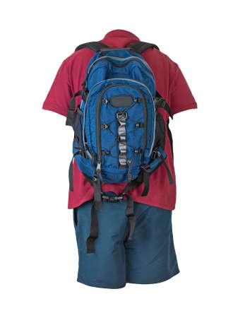 denim blue backpack, dark blue sports shorts, dark red shirt with a collar with buttons isolated on white foane. clothes for every day