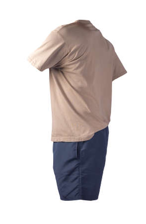 men's sports dark blue shorts and beige t-shirt isolated on white background.comfortable clothing for sports