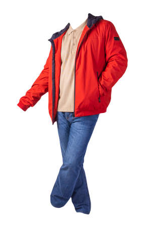 red jacket, beige shirt and blue jeans isolated on white background. casual fashion clothes 免版税图像