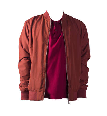 dark red men's bomber jacket and red shirt isolated on white background. fashionable casual wear 免版税图像