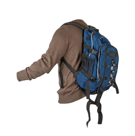 blue backpack dressed in knitted brown sweater isolated on a white background. backpack and male sweater view from the back