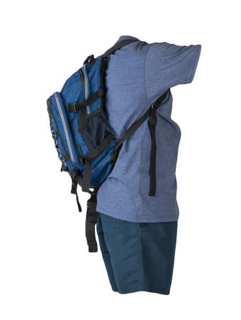 denim blue backpack, dark blue sports shorts, blue t-shirt isolated on white foane. clothes for every day 免版税图像
