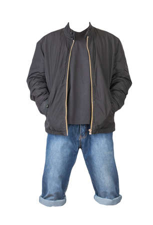 Denim blue shorts, black t-shirt and black jacket on a zipper isolated on white background 免版税图像