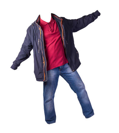 dark blue jacket with zipper, dark red shirt and blue jeans isolated on white background. casual fashion clothes