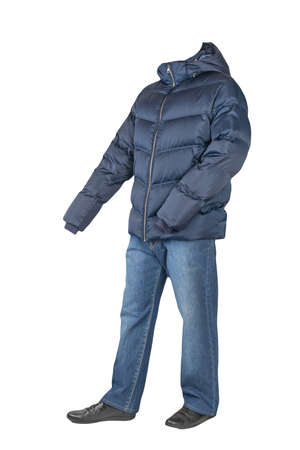 dark blue jeans, black leather shoes, dark blue down jacket with a hood isolated on white background. Casual style