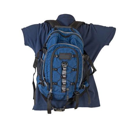 blue backpack dressed for dark blue t-shirt isolated on a white background. backpack and male sweater view from the back