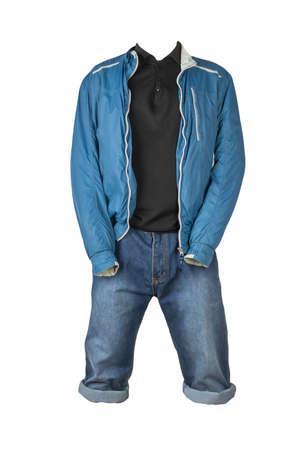 Denim blue shorts, black sweater and blue white windbreaker jacket on the zipper isolated on white background