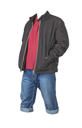 Denim dark blue shorts, dark red t-shirt with collar on buttons and black jacket on a zipper isolated on white background
