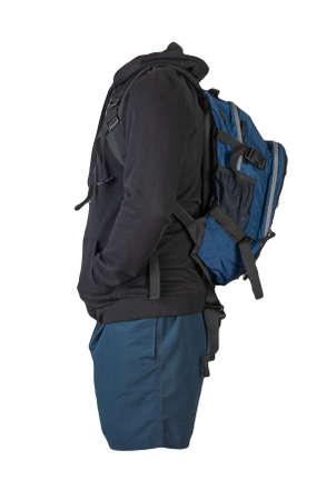 denim blue backpack, black sweatshirt with a hood, dark blue shorts isolated on white background. sportswear 免版税图像