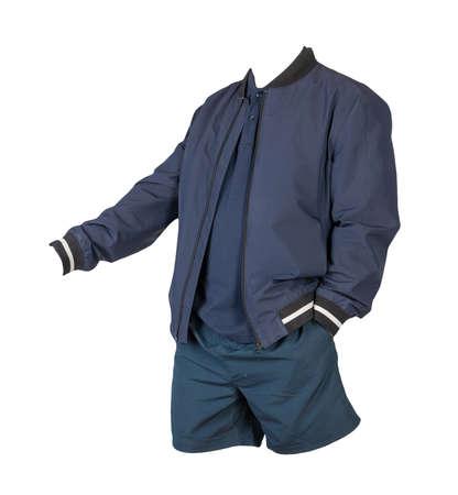 men's dark blue bomber jacket, dark blue shirt and dark blue sports shorts isolated on white background. fashionable casual wear