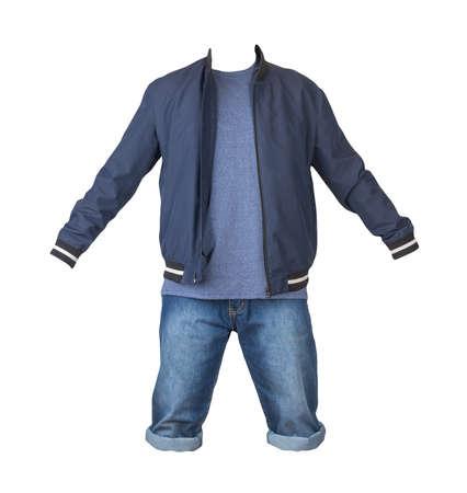Denim blue shorts, blue t-shirt and dark blue bomber jacket on a zipper isolated on white background