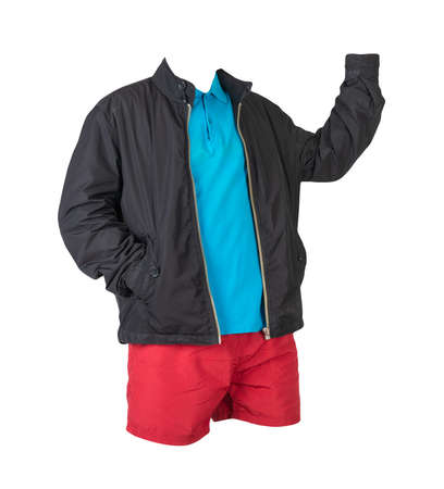 men's black jacket, blue shirt and red sports shorts isolated on white background. fashionable casual wear 免版税图像