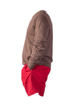 knitted brown sweater and red shorts isolated on white background. fashionable clothes for every day