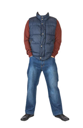 dark blue sleeveless jacket, blue jeans, dark red sweater and black leather shoes isolated on white background. Casual style