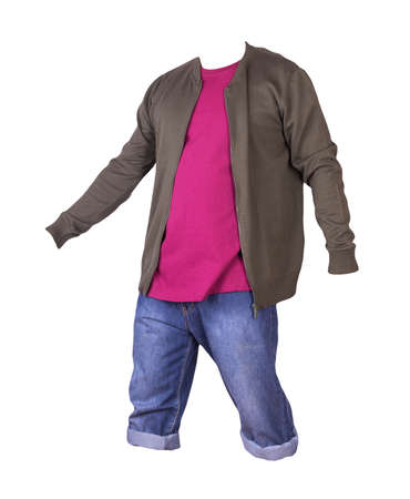 Denim blue shorts, burgundy t-shirt and dark green knitted bomber jacket on a zipper isolated on white background