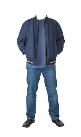 dark blue jeans, navy t-shirt, dark blue bomber jacket and black leather shoes isolated on white background