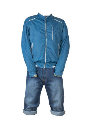 Denim dark blue shorts and blue windbreaker jacket with zipper isolated on white background. Men's jeans