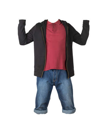 Denim dark blue shorts, dark red t-shirt with collar on buttons and black sweatshirt with zipper and hood isolated on white background