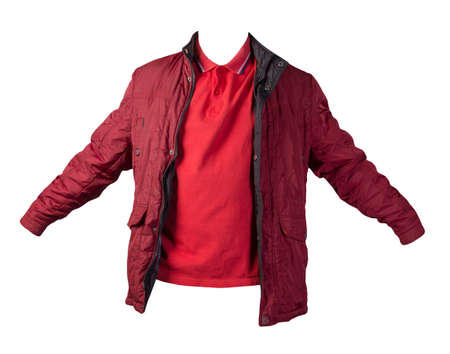 men's red t-shirt and red jacket zipper isolated on white background.casual clothing