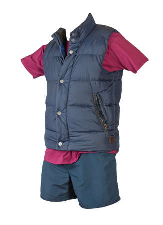 dark blue sleeveless jacket, burgundy t-shirt and dark blue sports shorts isolated on white background. Valid clothes for cool weather