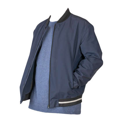 men's dark blue bomber jacket and navy t-shirt isolated on a white background. fashionable casual wear