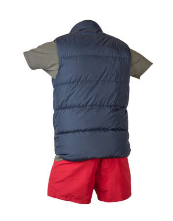 dark blue sleeveless jacket, dark gray t-shirt and red sports shorts isolated on white background. Valid clothes for cool weather