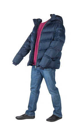 dark blue jeans, burgundy t-shirt, dark blue down jacket and black leather shoes isolated on white background